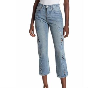 Levi's 501 embroidered cutout jeans